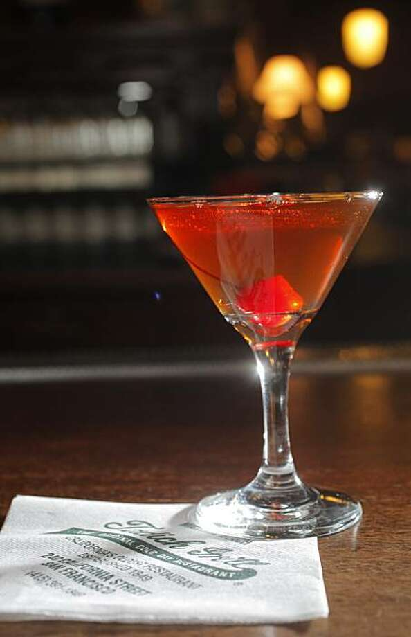 One of the house favorite drinks a manhattan sits on the bar, Tuesday Nov. 9, 2010, at the Tadich Grill in San Francisco, Calif. Photo: Lacy Atkins, The Chronicle