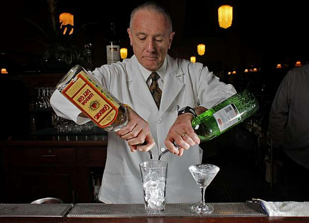 Paul Lovallo prepares a gin martini, Tuesday Nov. 9, 2010, at the Tadich Grill in San Francisco, Calif.
