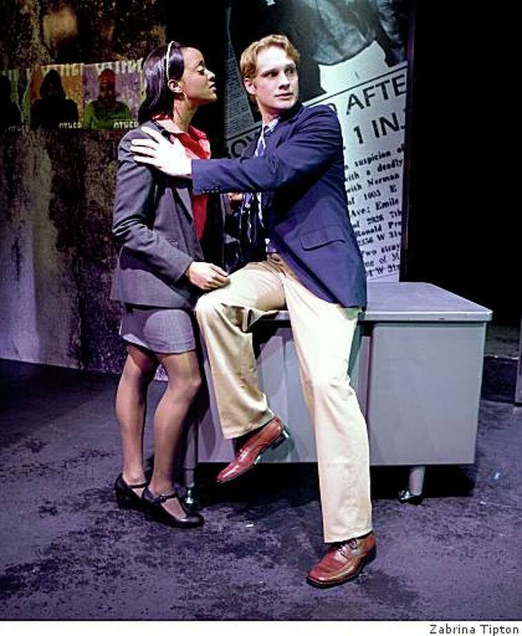 """Ryan Peters (left) as rookie reporter Yvonne and Craig Marker as her colleague and secret lover Jeff in """"The Story"""" at SF Playhouse Photo: Zabrina Tipton"""