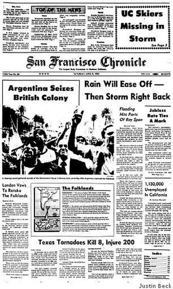 """April 3, 1982 ? Several thousand Argentine troops control Britain?s Falkland Islands as Britain says it will take the islands back. (Britain had declared the Falklands a colony in 1832.) An Argentine communique states, """"Mission accomplished,"""" while hundreds gather in Argentina?s capital of Buenos Aires to celebrate. After a naval assault, Britain reclaims the Falklands and declares an end to hostilities in June. Photo: Justin Beck"""