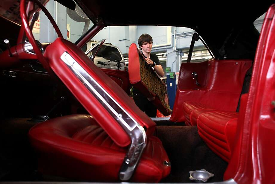 Bob Siegel replaces a seat in a Mustang in the elective automotive technology class at Tamalpais High School in Mill Valley. Photo: Lacy Atkins, The Chronicle