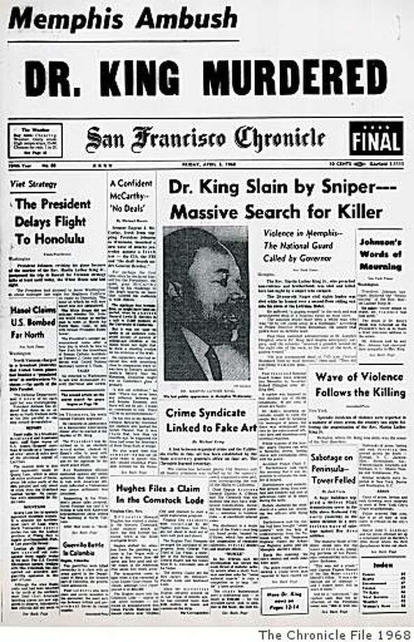 DAILYBLAST0405_ph.jpg San Francisco Chronicle cover from April 5, 1968.SF CHRONICLE/ San Francisco Chronicle File 1968 Photo: SF CHRONICLE, The Chronicle File 1968