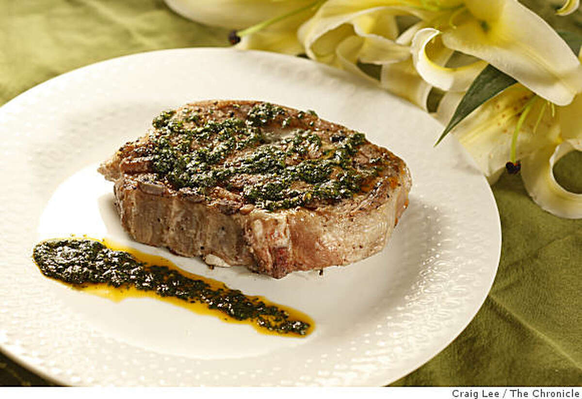 Grilled Lamb Shoulder Chops with Chimichurri in San Francisco, Calif., on March 25, 2009. Food styled by Shannon Shafer.