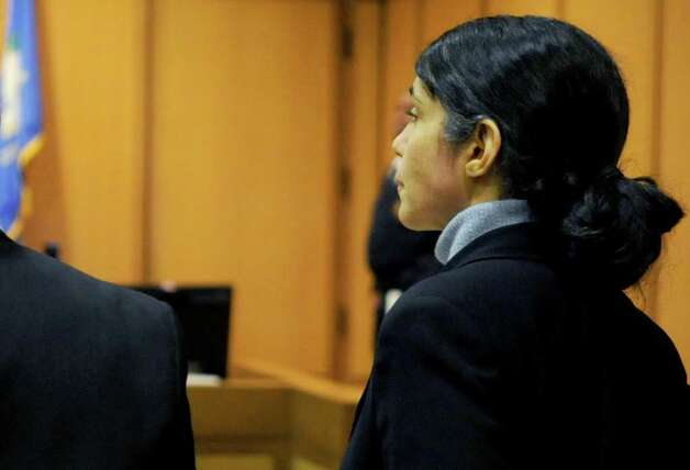 Sheila Davalloo faces the jury in State Superior Court on Friday, February 10, 2012, just before they find her guilty of the 2002 murder of Anna Lisa Raymundo. Photo: Lindsay Niegelberg / Stamford Advocate