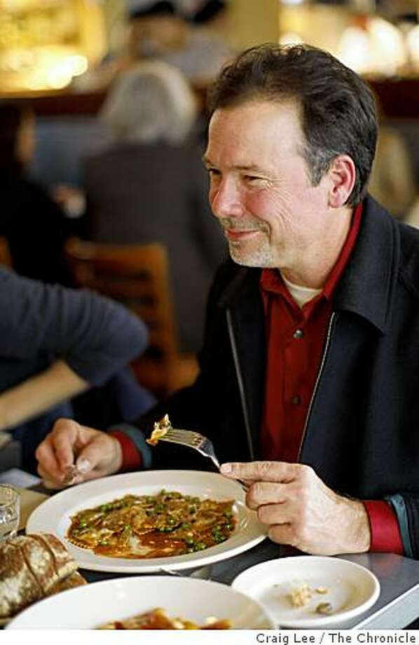 Scott White eating dinner at Delfina Restaurant in San Francisco, Calif., on March 24, 2009. He has been eating his way through the top 100 restaurants. Photo: Craig Lee, The Chronicle