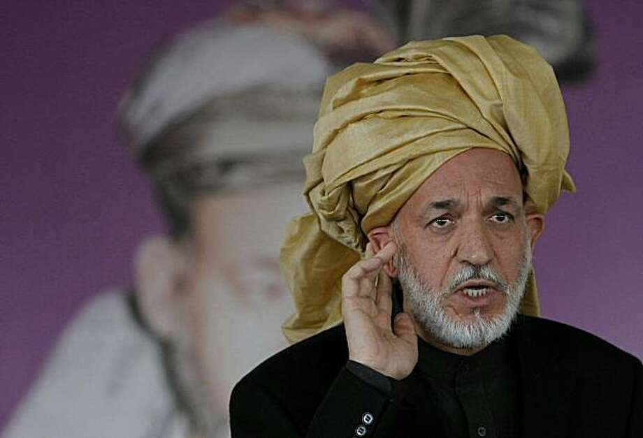 Afghan President Hamid Karzai delivers a speech in Paktika province on November 2, 2010. Photo: Omar Sobhani, AFP/Getty Images