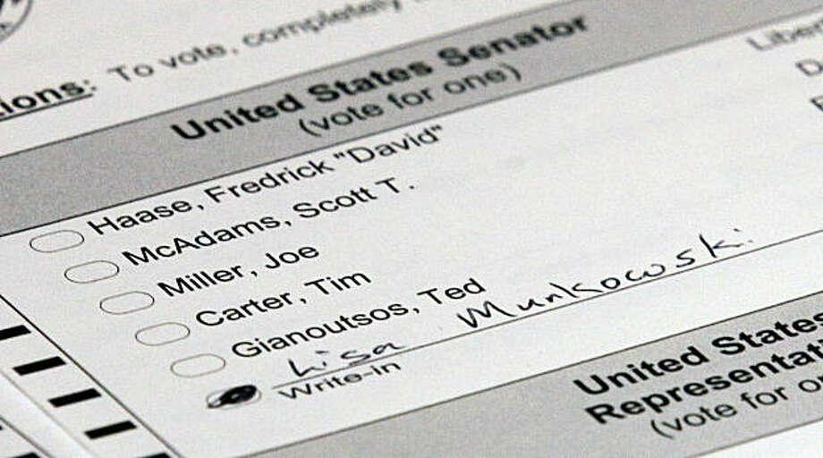 A Lisa Murkowski ballot is shown Friday, Nov. 12, 2010, in Juneau, Alaska. Photo: Rick Bowmer, AP