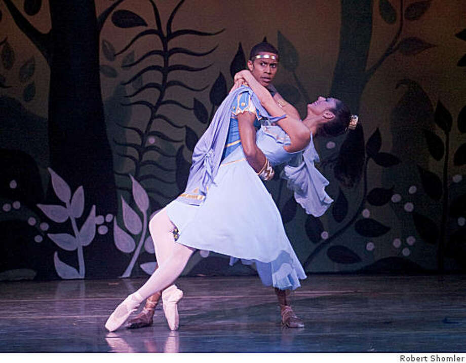 (left to right) Preston Dugger is Demetrius, betrothed to Hermia, with Beth Ann Namey as Helena (who is in love with Demetrius) in Dennis Nahat's A MIDSUMMER NIGHT'S DREAM at San Jose Center of the Performing Arts, April 2-5, 2009. Photo: Robert Shomler