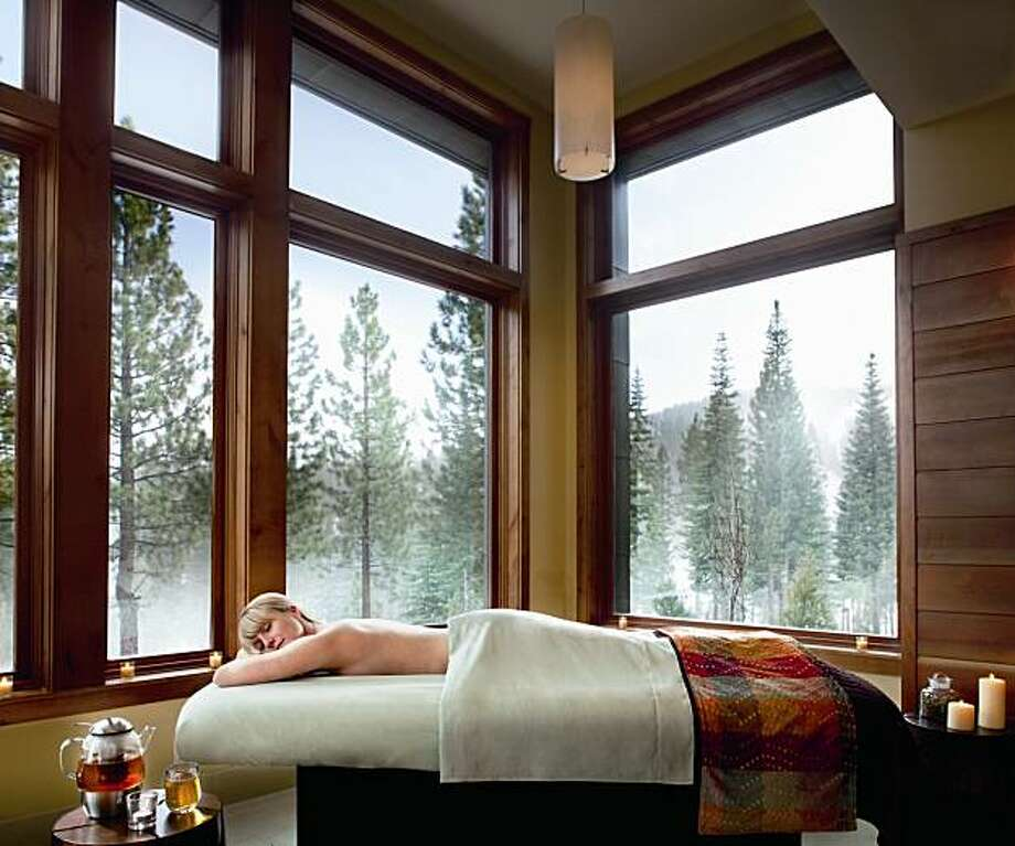 "A massage with a view. The ""Journey of Discovery"" and the ""Couples Journey"" are done in this kind of a room with a view of the snow-covered mountains on three sides Ritz-Carlton, Lake Tahoe. Photo: Chris Cypert"