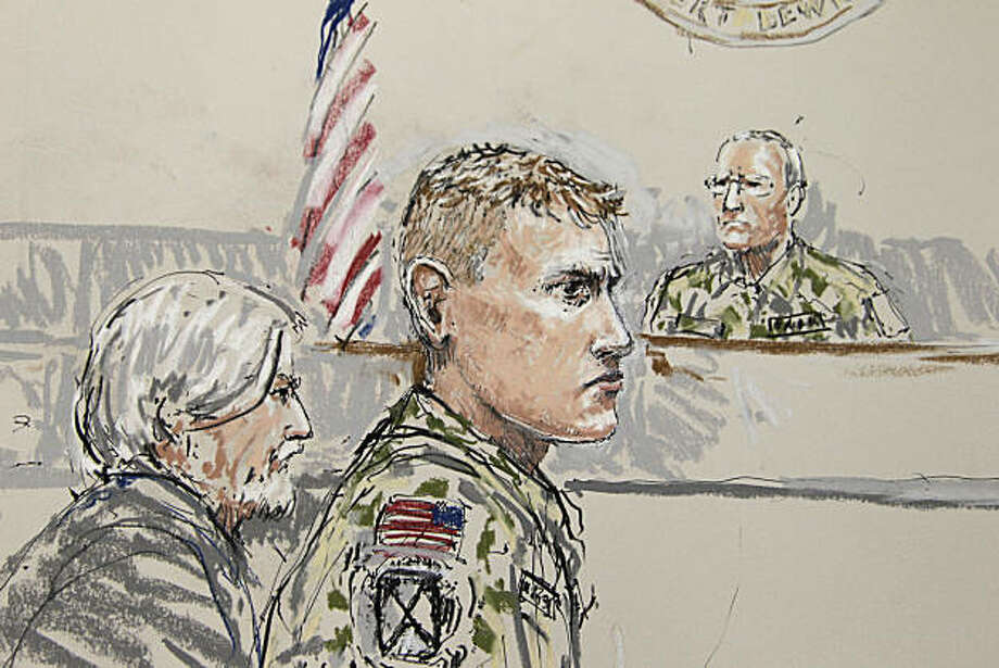 U.S. Army Staff Sgt. Calvin Gibbs, center, is shown in this courtroom sketch, Tuesday, Nov. 9, 2010 in a military courtroom on Joint Base Lewis-McChord in Washington state. At left is Phillip Stackhouse, Gibbs' civilian attorney, and at right is Investigating Officer Col. Thomas P. Molloy, who is overseeing the Article 32 hearing on charges against Gibbs that include murder, dereliction of duty and trying to impede an investigation, in connection with the deaths of Afghan civilians while Gibbs was deployed in Afghanistan. Photo: Peter Millett, AP