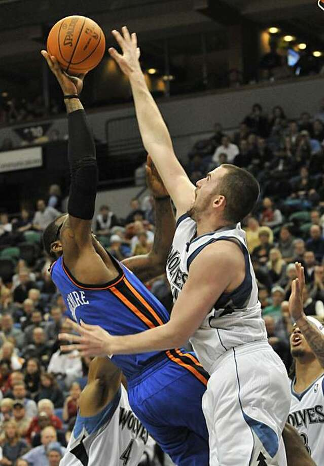 Minnesota Timberwolves' Kevin Love, right, goes up to block a shot by New York Knicks' Amare Stoudemire in the second half of an NBA basketball game Friday, Nov. 12, 2010 in Minneapolis. Love led the Timberwolves with 31 points and 31 rebounds in the Timberwolves' 112-103 win. Photo: Jim Mone, Associated Press