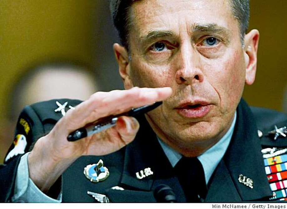 WASHINGTON - APRIL 01:  Gen. David Petraeus, commander of the U.S. Central Command, testifies before the Senate Armed Services Committee April 1, 2009 in Washington, DC. Petraeus tetified on U.S. policy toward Afghanistan and Pakistan during the hearing.  (Photo by Win McNamee/Getty Images) Photo: Win McNamee, Getty Images