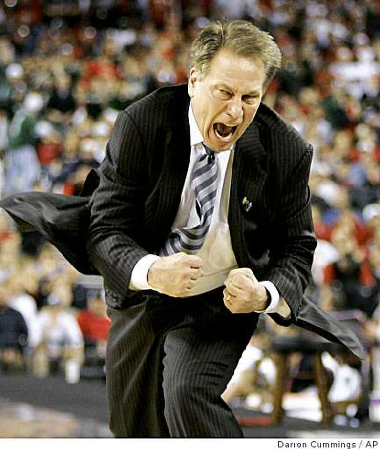 Michigan State coach Tom Izzo reacts after a score in the second half of the NCAA Midwest Regional men's college basketball tournament final against Louisville Sunday, March 29, 2009, in Indianapolis. (AP Photo/Darron Cummings) Photo: Darron Cummings, AP