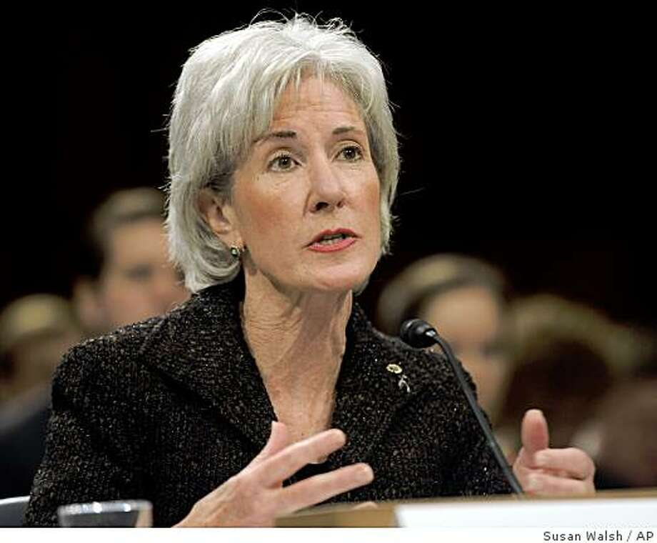 Health and Human Services Secretary-designate, Kansas Gov. Kathleen Sebelius testifies on Capitol Hill in Washington, Tuesday, March 31, 2009, before the Senate Health, Education, Labor and Pensions Committee hearing on her nomination. (AP Photo/Susan Walsh) Photo: Susan Walsh, AP