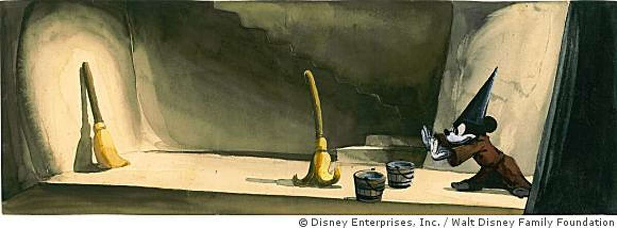 This 1940 watercolor shows Mickey Mouse commanding the brooms in Fantasia. The Walt Disney Foundation is opening a museum dedicated to the life of Walt Disney later this fall in San Francisco's Presidio.