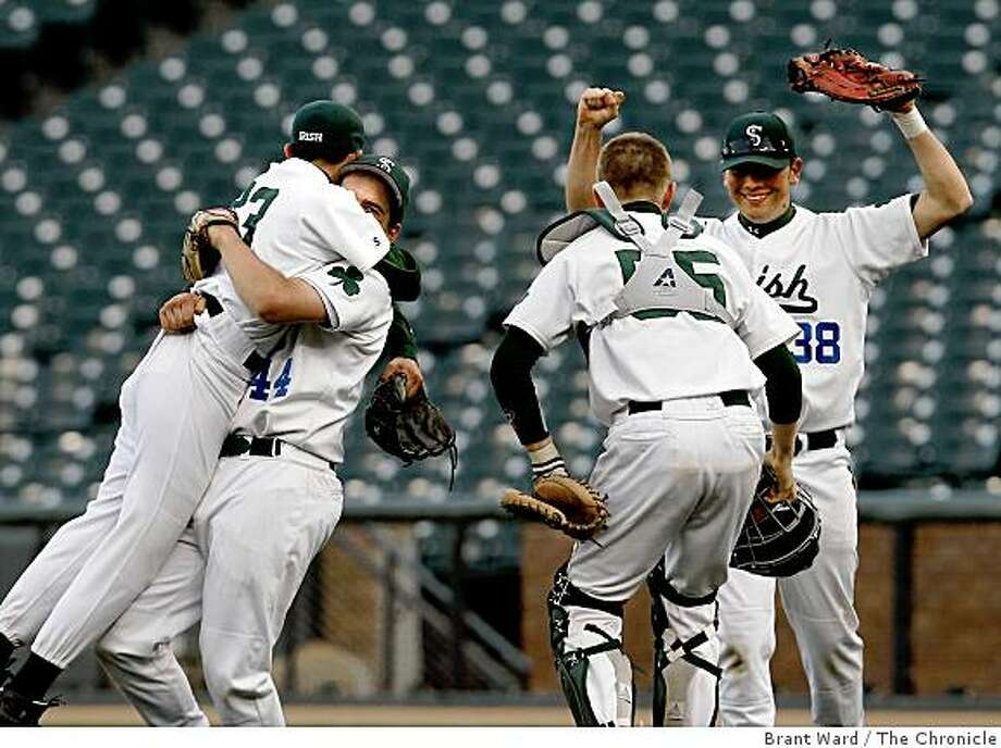 Members of the Sacred Heart varsity baseball team celebrate after their win. Sacred Heart Cathedral Prep defeated St. Ignatius 4-1 in the final game of the annual Bruce-Mahoney series played at AT&T Park Tuesday March 31, 2009. Photo: Brant Ward, The Chronicle