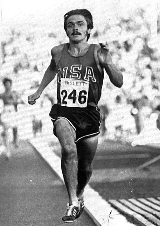 "Steve Prefontaine wins the 3000 meter event with a time of 7.44.2.  in Oslo, Norway, in this Aug 4, 1972 photo. Prefontaine never won an Olympic medal or set a world record, but through books, movies and endless stories, the long-haired, mustachioed ""Pre"" is more  popular than ever. Photo: AP"