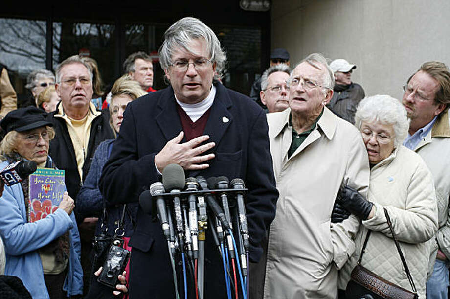 Dr. William A. Petit Jr., center, surrounded by members of the  the Petit and Hawke family, reacts to the sentence given to Steven Hayes, not pictured, following jury deliberations Monday, Nov. 8, 2010, at the New Haven, Conn., County Courthouse. Petit isthe sole survivor of the 2007 Cheshire, Conn., home invasion where his wife, Jennifer Hawke-Petit and their daughters, Hayley and Michaela, were murdered. Photo: Stew Milne, AP