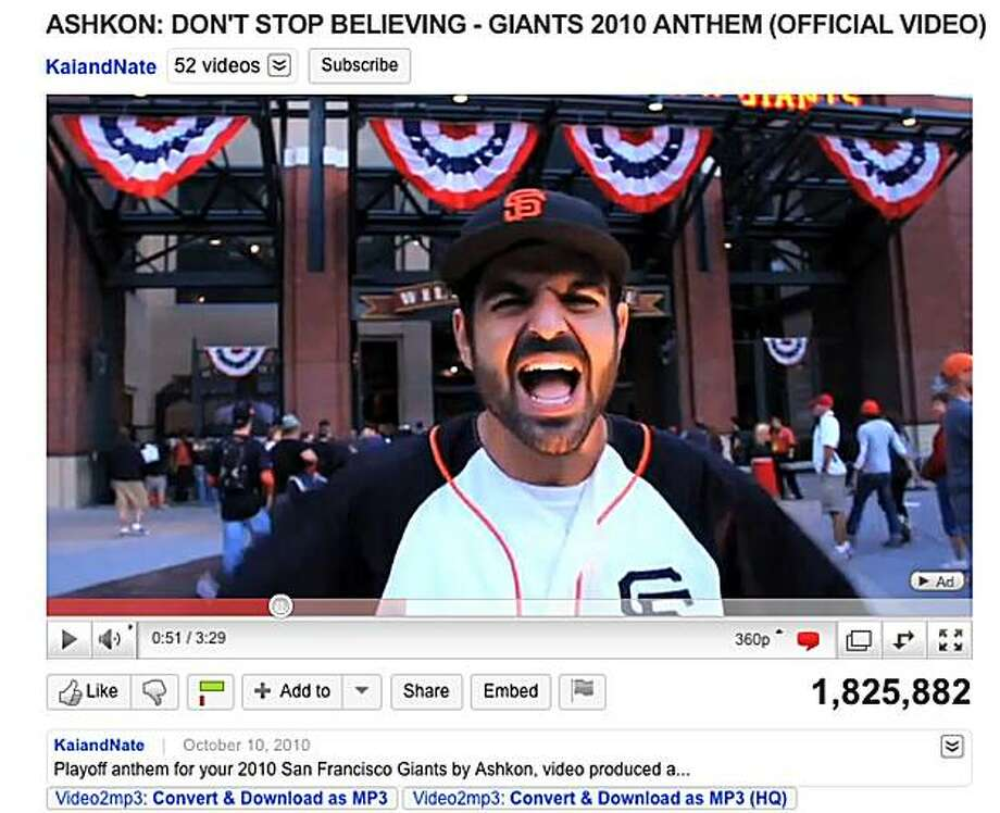 "screenshot of Ashkon Davaran singing the unofficial theme song for the San Francisco Giants 2010 season, ""Don't Stop Believing"", originally performed by Journey. Photo: None, Youtube.com"