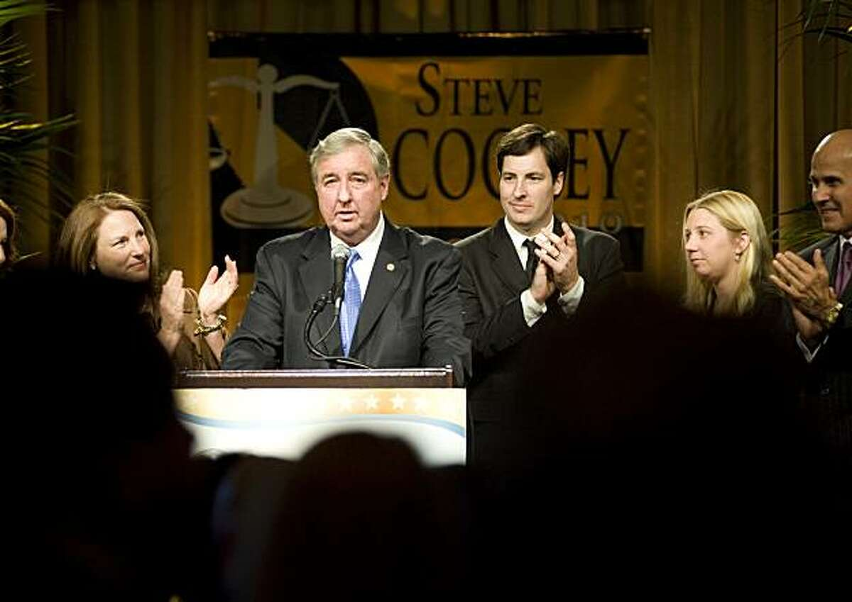 Los Angeles County District Attorney and Republican candidate for California Attorney General Steve Cooley addresses supporters after showing an early lead over Democratic opponent Kamala D. Harris at the Beverly Hilton Hotel in Beverly Hills, Calif., onTuesday, Nov. 2, 2010.