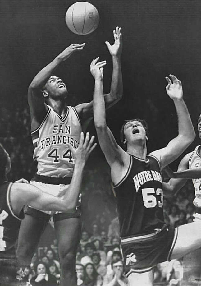 University of San Francisco guard Quintin Dailey battles Notre Dame's Tim Andree on Jan. 21, 1981, in South Bend, Ind. Photo: Upi, UPI