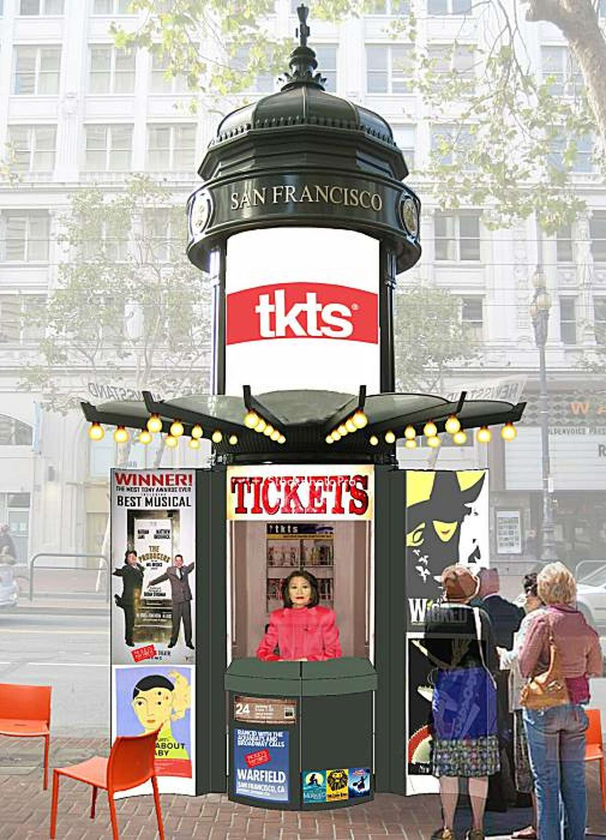 Design concepts for the reuse of news kiosks on Mid-Market Street include using them as spots to sell theater tickets