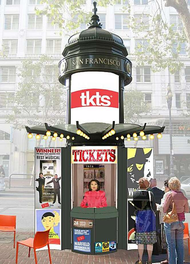 Design concepts for the reuse of news kiosks on Mid-Market Street include using them as spots to sell theater tickets Photo: Hok, HOK