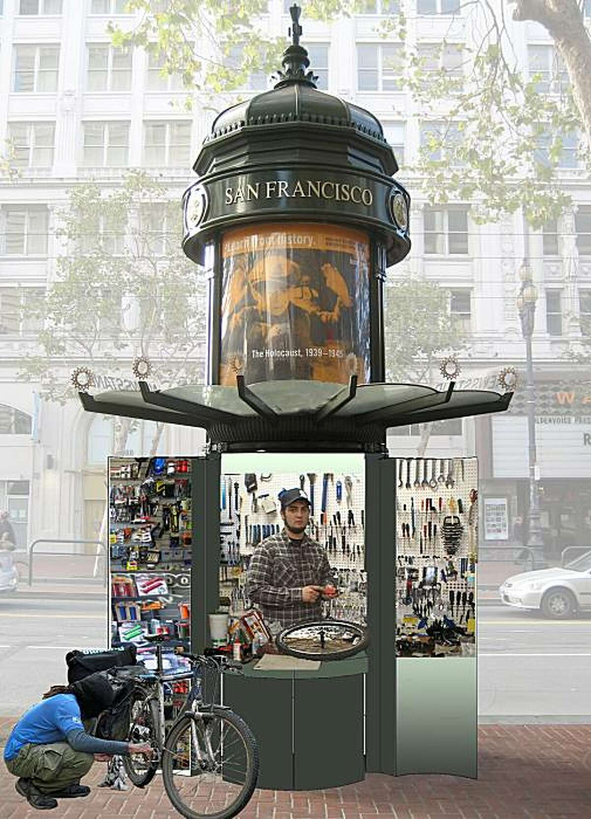Design concepts for the reuse of news kiosks on Mid-Market Street include using them as