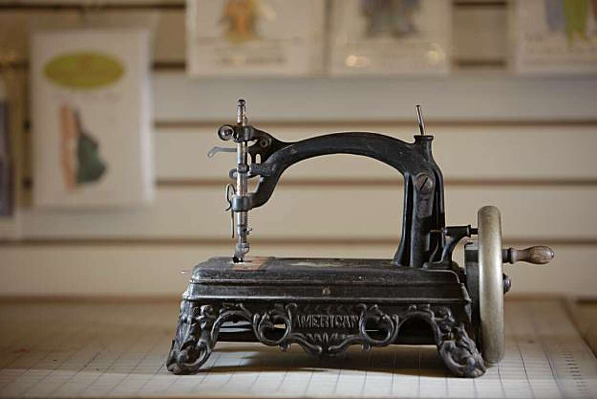 An antique sewing machine is seen at The Sewing Workshop owned by Karine Langan in San Francisco, Wednesday, Oct. 13, 2010.