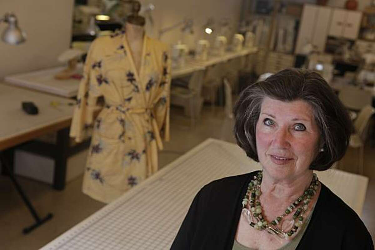 Karine Langan, owner of The Sewing Workshop, is seen in her store in San Francisco, Wednesday, Oct. 13, 2010.