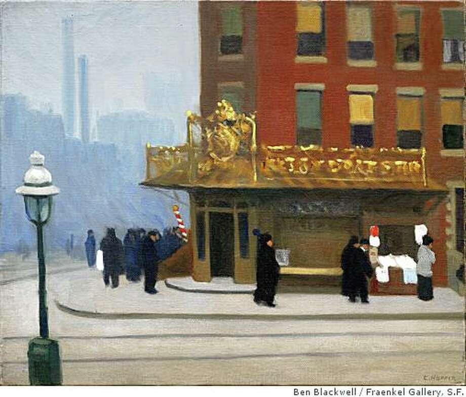 """New York Corner (Corner Saloon)"" (1913) oil on canvas by Edward HopperCorner Saloon, 9/23/08, 2:58 PM,  8C, 5242x5744 (0 656), 88%, Custom,  1/20 s, R127.8, G73.4, B89.7 Photo: Ben Blackwell, Fraenkel Gallery, S.F."