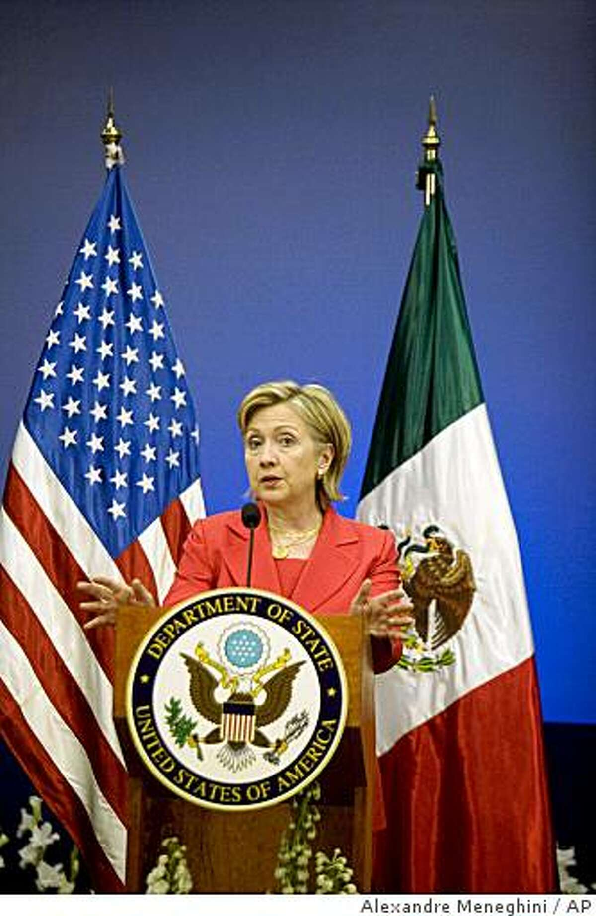 U.S. Secretary of State Hillary Rodham Clinton speaks during a press conference at the TecMilenio University in Monterrey, Mexico, Thursday, March 26, 2009. Clinton is on a two-day official visit to Mexico. (AP Photo/Alexandre Meneghini)