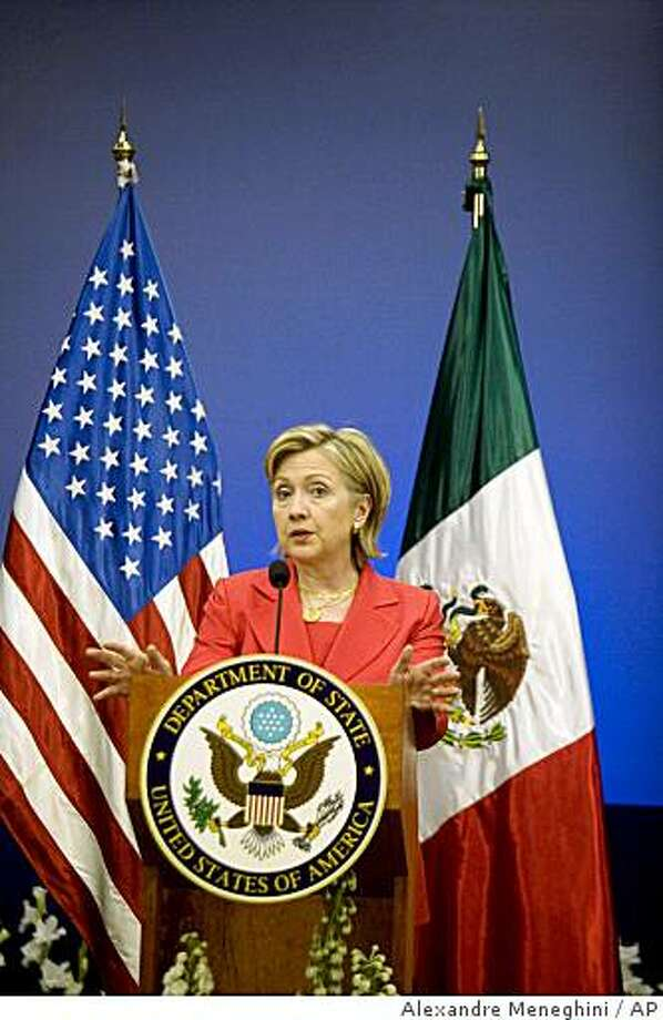 U.S. Secretary of State Hillary Rodham Clinton speaks during a press conference at the TecMilenio University in Monterrey, Mexico, Thursday, March 26, 2009. Clinton is on a two-day official visit to Mexico. (AP Photo/Alexandre Meneghini) Photo: Alexandre Meneghini, AP