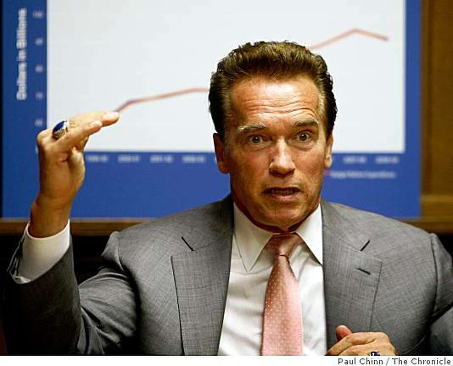 Gov. Arnold Schwarzenegger meets with the Chronicle Editorial Board hoping to sell his package of budget reform measures in San Francisco, Calif., on Thursday, March 26, 2009. Photo: Paul Chinn, The Chronicle