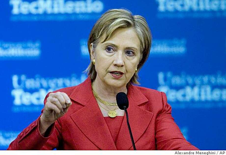 U.S. Secretary of State Hillary Rodham Clinton delivers a speech during an event at the TecMilenio University in Monterrey, Mexico, Thursday, March 26, 2009. Clinton is on a two-day visit to Mexico. (AP Photo/Alexandre Meneghini) Photo: Alexandre Meneghini, AP