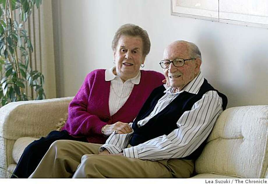 Selma (l to r)  and Karl Blick photographed on their couch at their home in San Francisco, Calif. on Monday, March 9, 2009. Photo: Lea Suzuki, The Chronicle