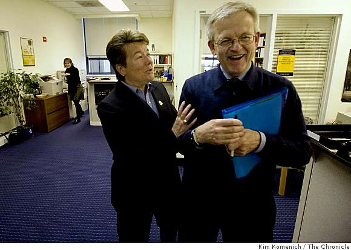 Cal Athletics Director Sandy Barbour jokes with Deputy Athletics director Steve Holton in the Athletics Department offices in Haas Pavilion in Berkeley, Calif., on Tuesday, Mar. 3, 2009.