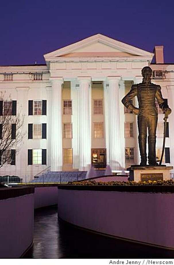 city hall, Jackson, Mississippi, MS, Statue of Andrew Jackson outside Jackson City Hall in Jackson in the evening. Model Release: No Property Release: No (Newscom TagID: scphotos042780)     [Photo via Newscom] Photo: Andre Jenny, /Newscom