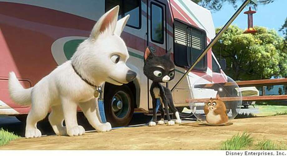 "Left to Right: Hollywood show dog Bolt (voice of John Travolta) -- with the help of Mittens (voice of Susie Essman) and Rhino (voice of Mark Walton) -- must find his way back to L.A. when he is accidentally shipped to New York City in ""Bolt,"" opening Friday Nov 21. Photo: �Disney Enterprises, Inc. All Ri, Disney Enterprises, Inc."