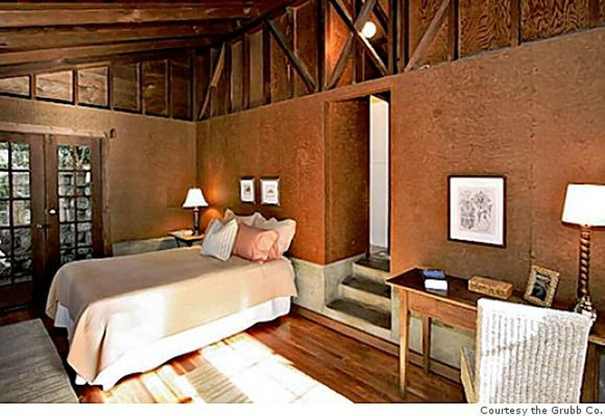 Bedroom of, Maybeck cubby. Built by Bernard Maybeck in 1925 to house his prize Packard. The 724 square-foot building was on the market for $575,000 and it is in escrow, and due to close in early April (2009)