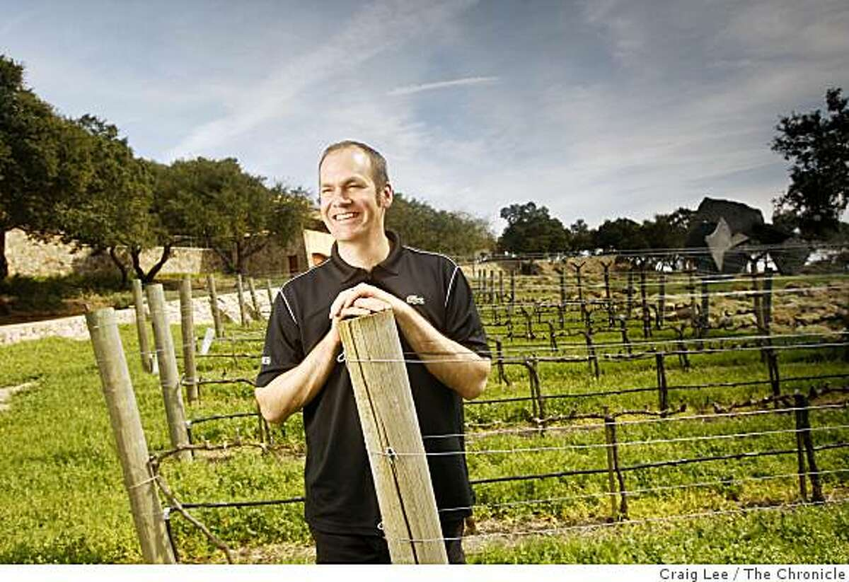 Aaron Pott, winemaker at Seven Stones winery, a tiny boutique project near Meadowood, in St. Helena, Calif., on March 18, 2009.