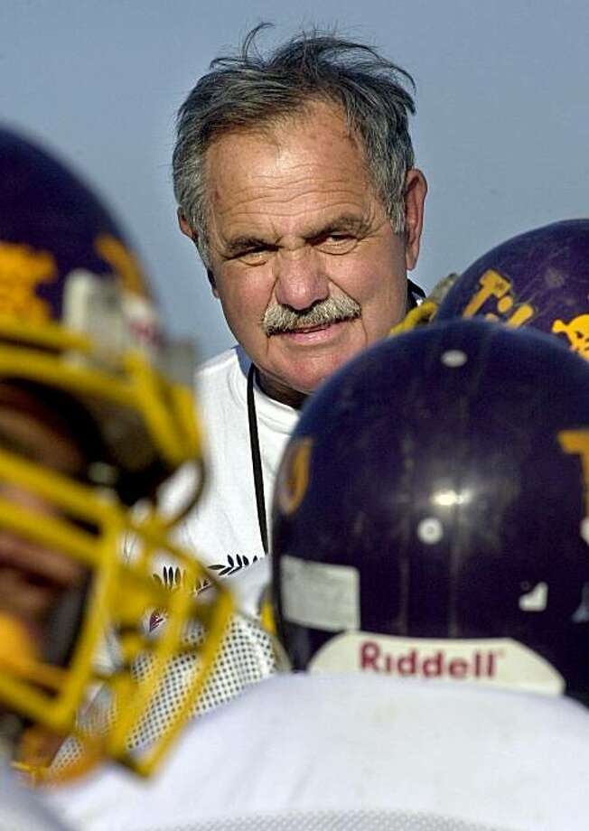 John F. Kennedy High School  (Fremont, CA.) football coach Pete Michaletos coaching the varsity team practice.  The name of the team is the Titans.  Kennedy stands a good chance of making the NCS playoffs;  this is one of Kennedy's best years ever in football.  Writer is freelancer Matt Schwab. Photo: Katy Raddatz, The Chronicle
