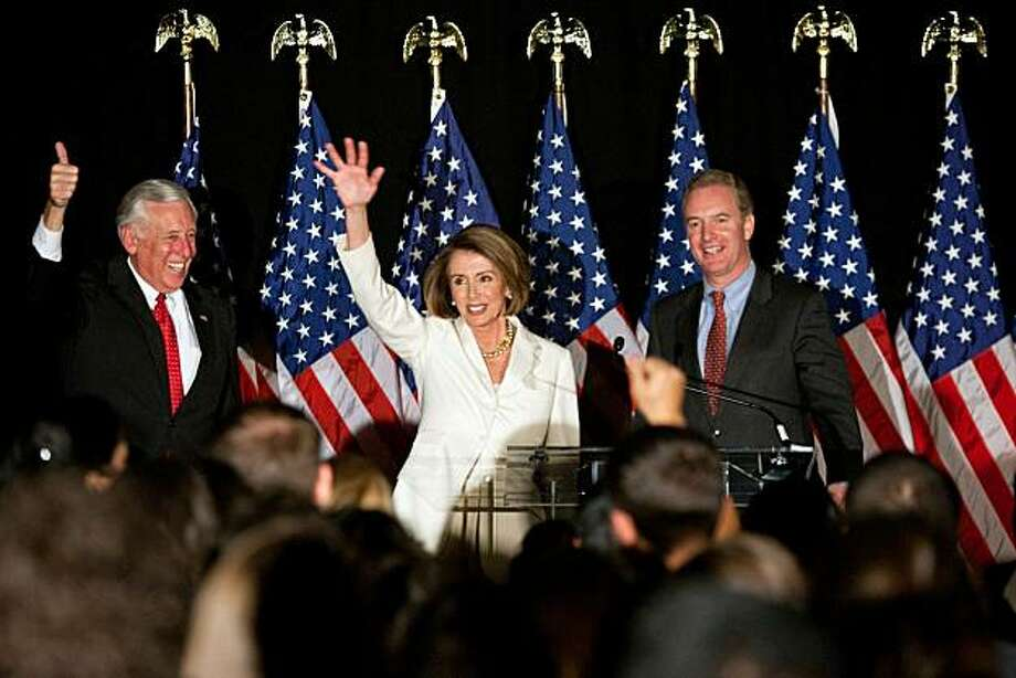 WASHINGTON - NOVEMBER 02: (L-R) House Majority Leader Rep. Steny Hoyer (D-MD), House Speaker Rep. Nancy Pelosi (D-CA), and Rep. Chris Van Hollen (D-MD), chairman of the Democratic Congressional Campaign Committee, attend an election-night rally held by the DCCC on November 2, 2010 in Washington, DC. Congressional Democrats were expected to suffer big losses in the midterm elections, with Republicans poised to gain control of the House. Photo: Brendan Hoffman, Getty Images