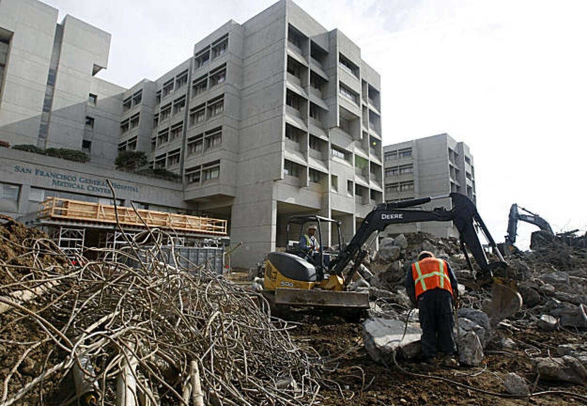 Construction crews prep the site for a new SF General Hospital building in San Francisco, Calif., on Friday, Nov. 5, 2010. The new hospital is being built to meet state seismic safety standards using base-isolators in the foundation. The current hospital has been found to be seismically unsafe.
