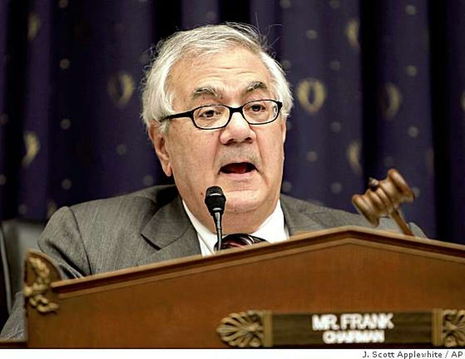 House Financial Services Committee Chairman Rep. Barney Frank, D-Mass., opens a hearing on President Obama's proposals for an extensive overhaul of financial regulations, with Treasury Secretary Timothy Geithner, there to defend the plan, Thursday, March 26, 2009, on Capitol Hill in Washington.  (AP Photo/J.  Scott Applewhite) Photo: J. Scott Applewhite, AP