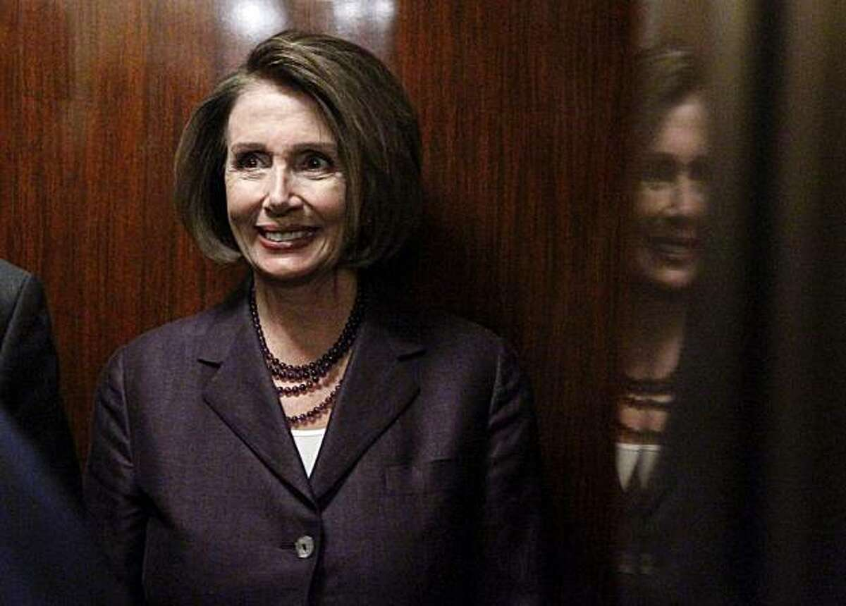 House Speaker Nancy Pelosi of Calif., gets on an elevator on Capitol Hill in Washington, Wednesday, Nov. 3, 2010, after a television interview.