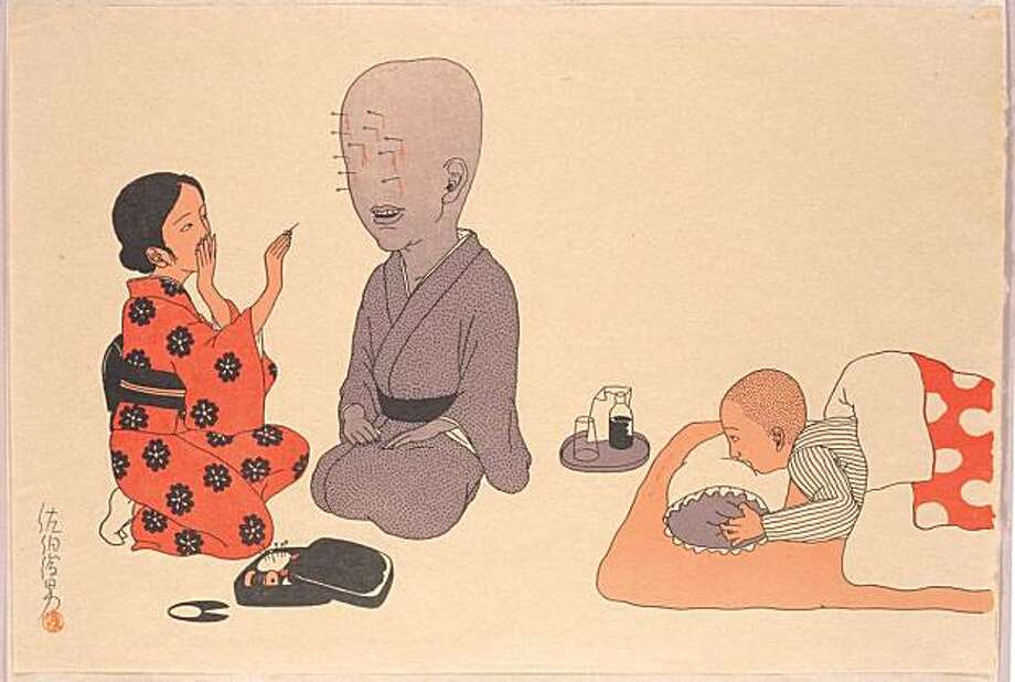 Traditional Japanese technique meets the artist's bizarre  imagination in the works of Japanese artist Toshio Saeki. Photo: Courtesy Of The Artist