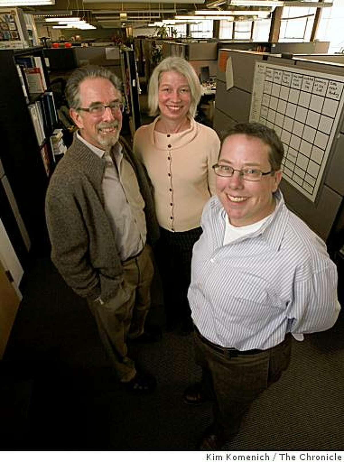 Daniel Ben-Horin (L), Rebecca Masisak and Marnie Webb the co-CEO's of Techsoup, stand in the customer service department at Techsoup's San Francisco, Calif., offices on Wednesday, Mar. 4, 2009.