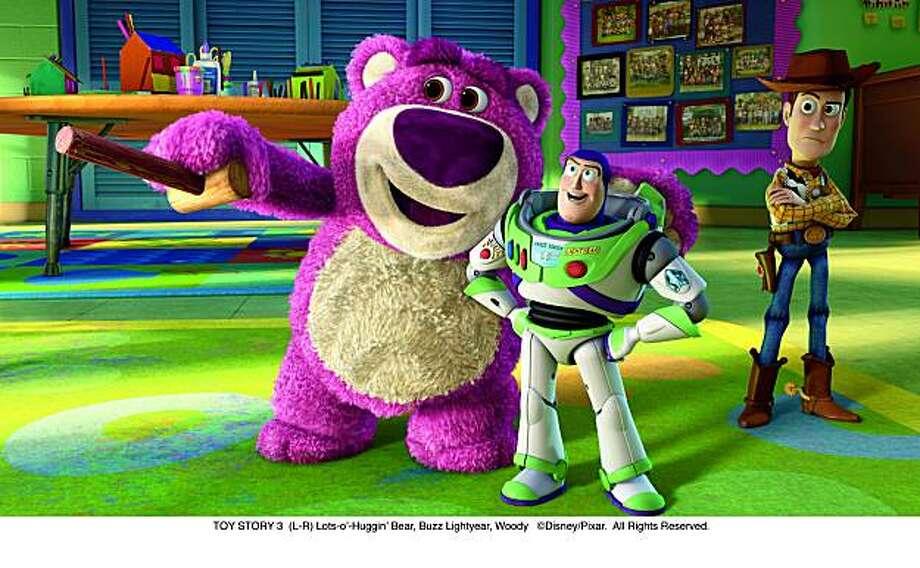 TOY STORY 3 (L-R) Lots-oÕ-HugginÕ Bear, Buzz Lightyear, Woody Photo: ©Disney/Pixar