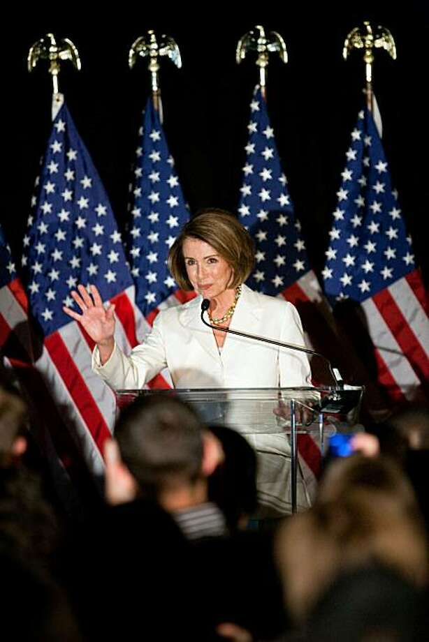 WASHINGTON - NOVEMBER 02: House Speaker Rep. Nancy Pelosi (D-CA) speaks at an election-night rally held by the Democratic Congressional Campaign Committee on November 2, 2010 in Washington, DC. Congressional Democrats were expected to suffer big losses inthe midterm elections, with Republicans poised to gain control of the House. Photo: Brendan Hoffman, Getty Images